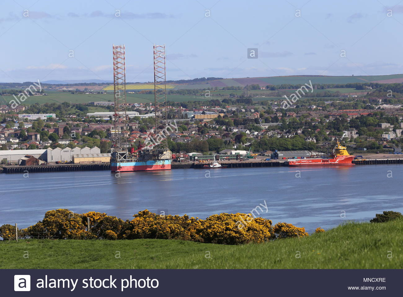Oil rig Maersk Gallant at Port of Dundee Scotland  May 2018 - Stock Image