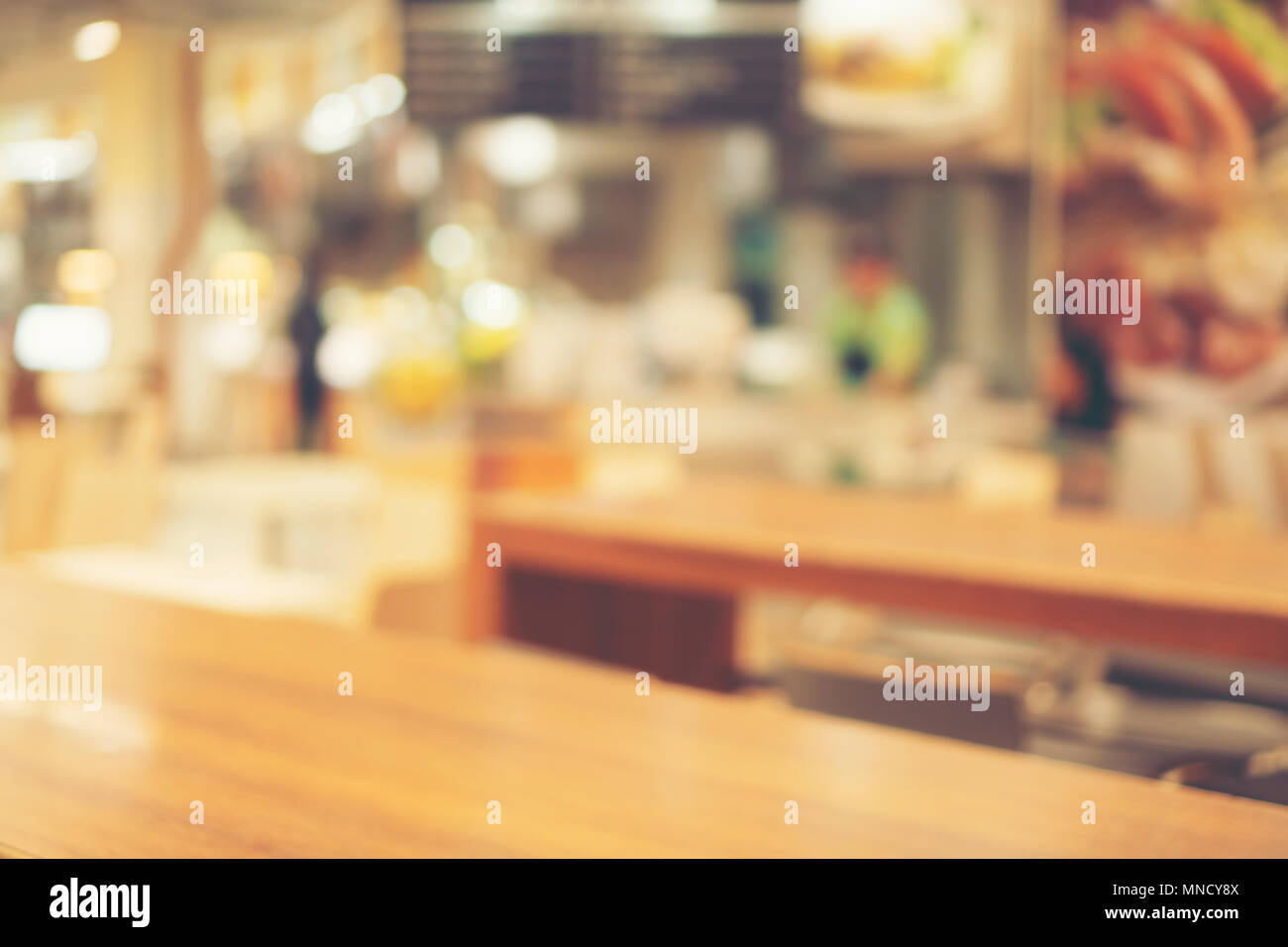 Blurred background made with Vintage Tones,Coffee shop blur background with bokeh - Stock Image