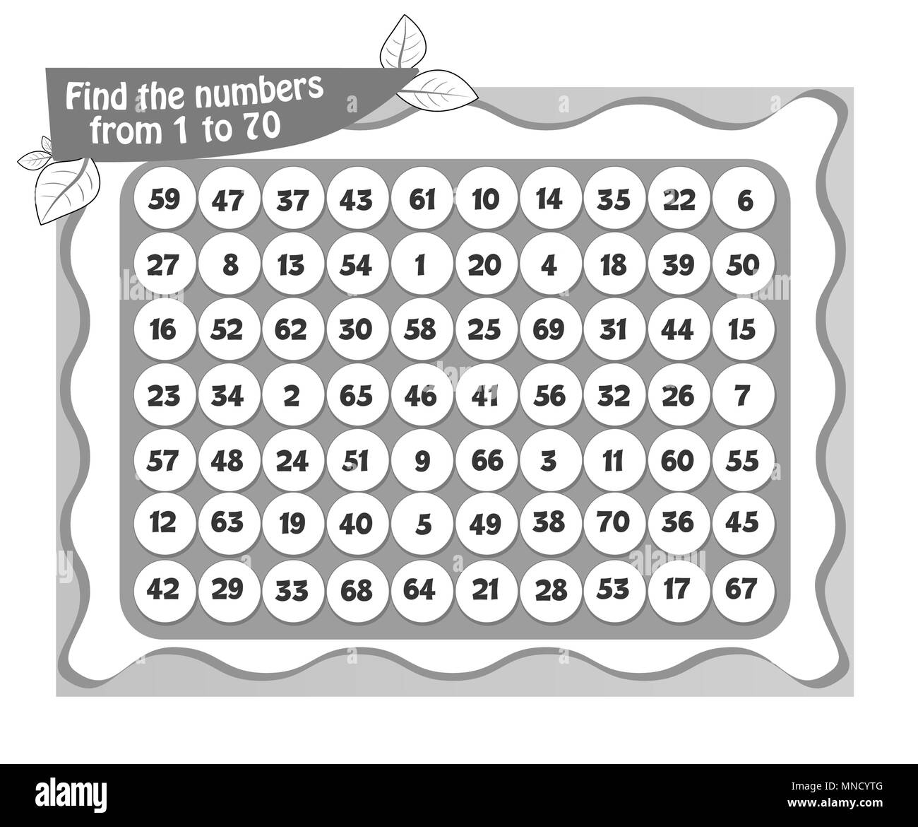 visual game, coloring book for children and adults.Task game find the  numbers from 1 to 70