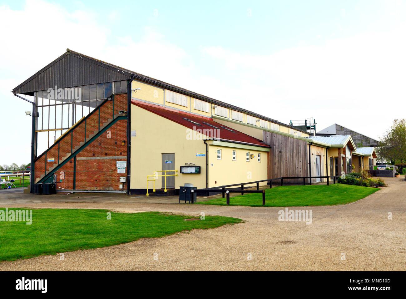 Fakenham Race Course, main grandstand and entrance, Norfolk, England, UK, horse racing, track, tracks - Stock Image