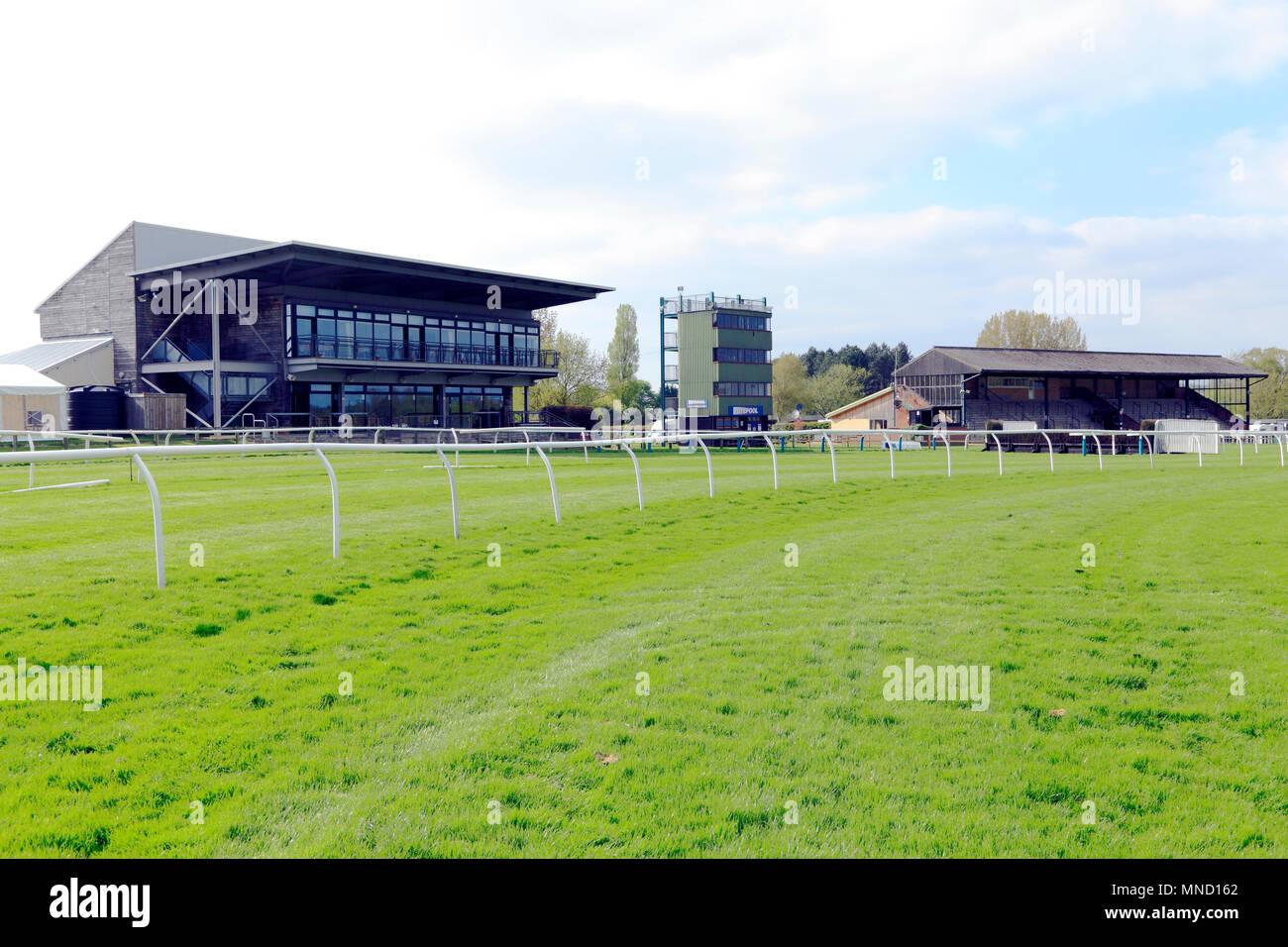 Fakenham Race Course, horse racing, track, tracks, main grandstand and Totepool, Norfolk, England, UK - Stock Image