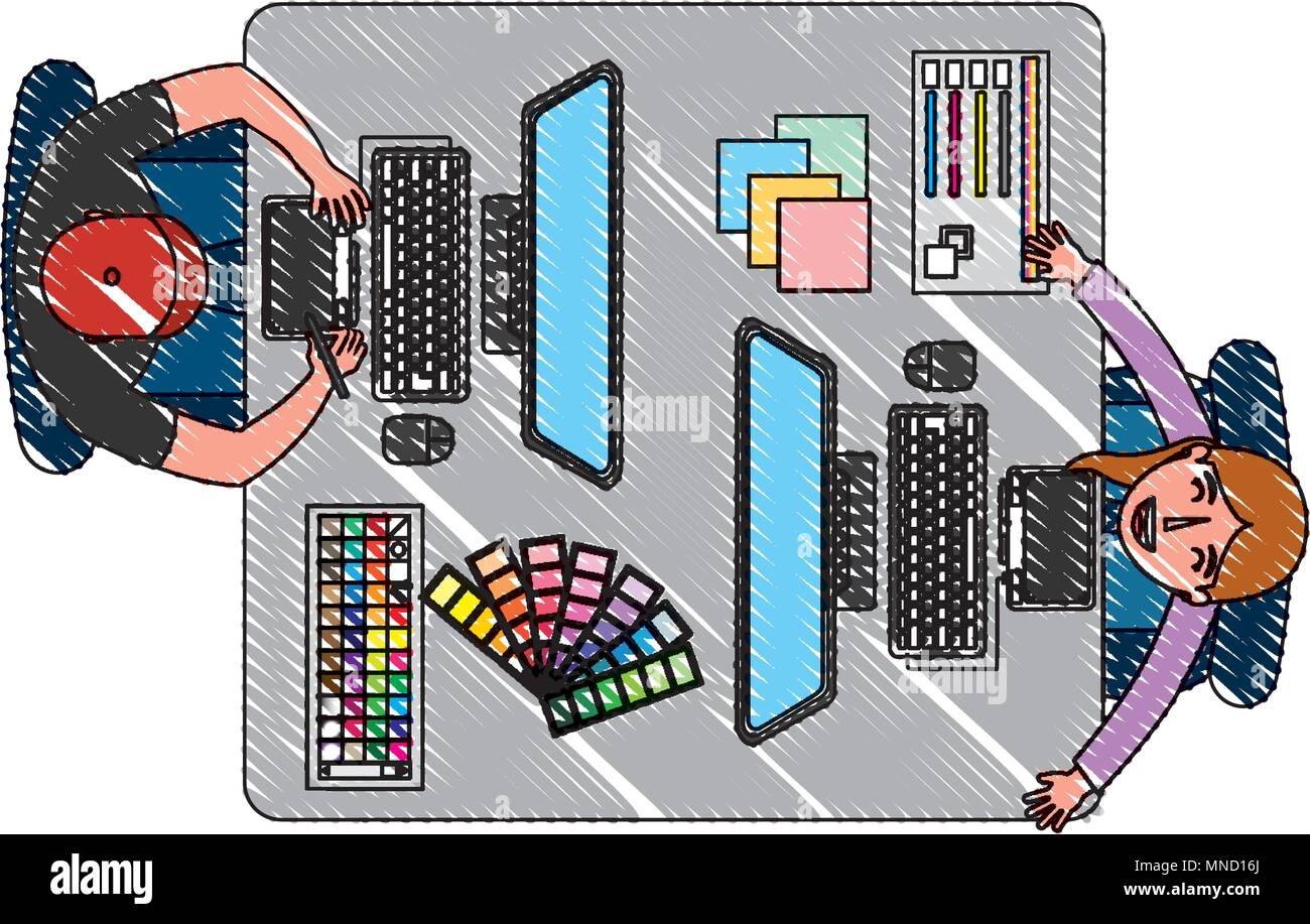 aerial view of teamwork working with computers - Stock Image