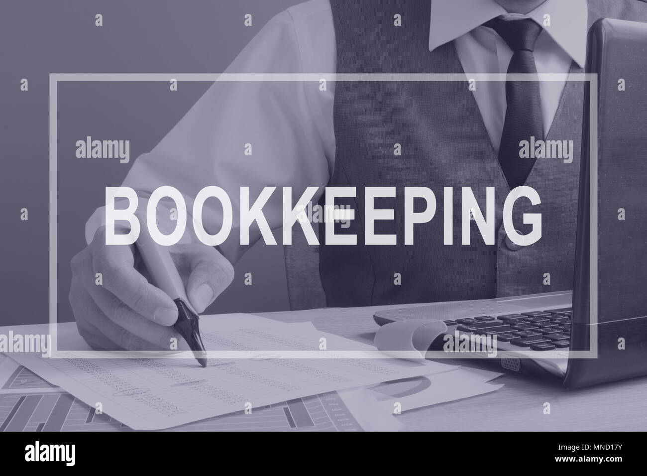 Bookkeeping. Bookkeeper is working with financial report. - Stock Image