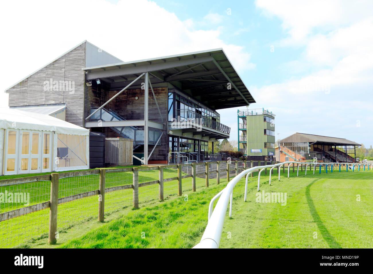 Fakenham Race Course, viewing area, grandstand, totepool, spectator enclosures, Norfolk, England, UK, horse racing, track, tracks, grandstands - Stock Image
