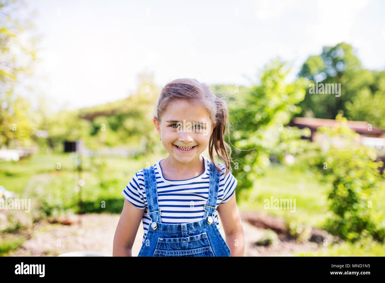 A portrait of a small girl in the garden in spring nature. - Stock Image
