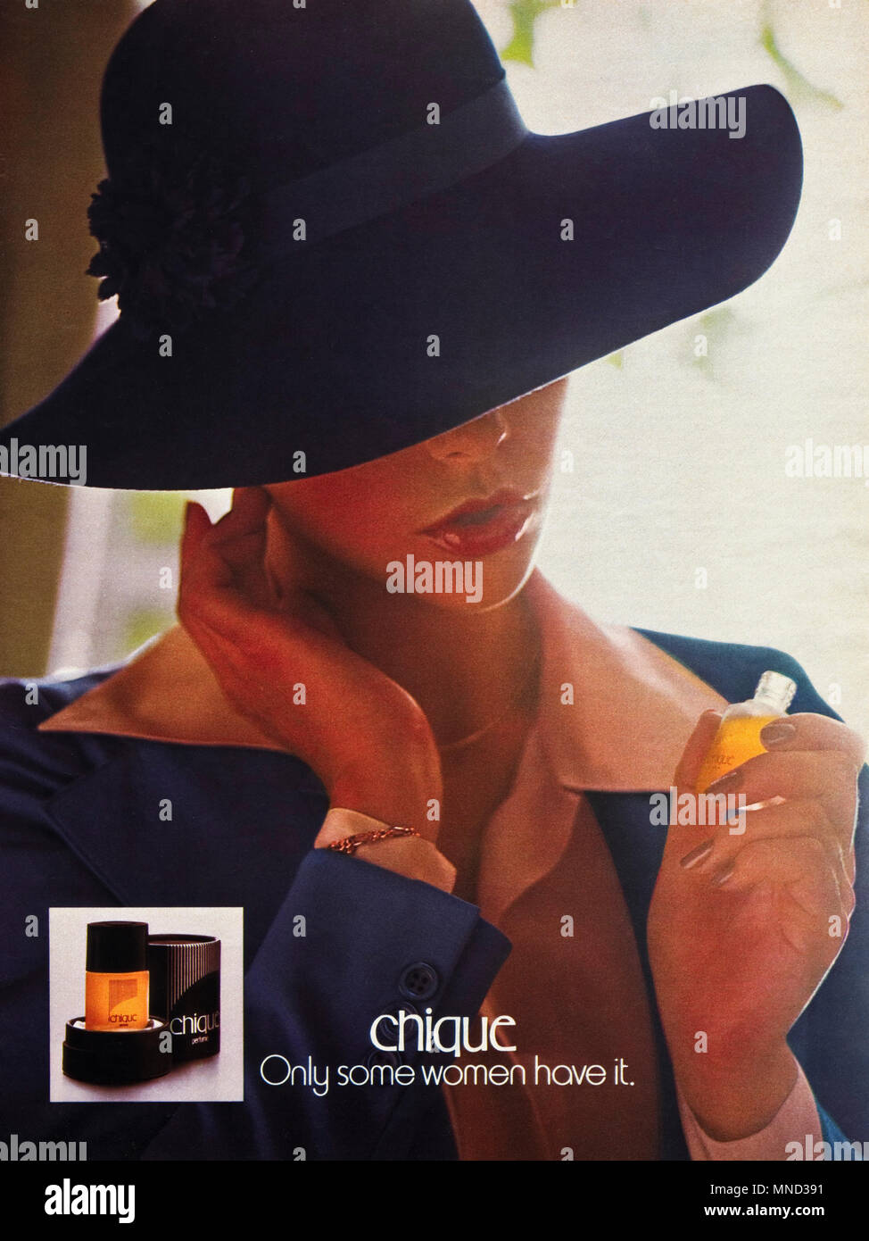 1980s original old vintage advertisement advertising Chique perfume for women advert in English magazine circa 1980 - Stock Image