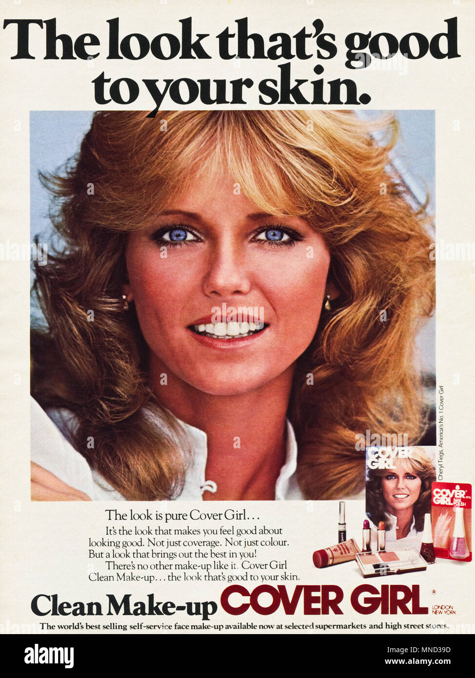 1980s original old vintage advertisement advertising Cover Girl make-up for women advert in English magazine circa 1980 - Stock Image