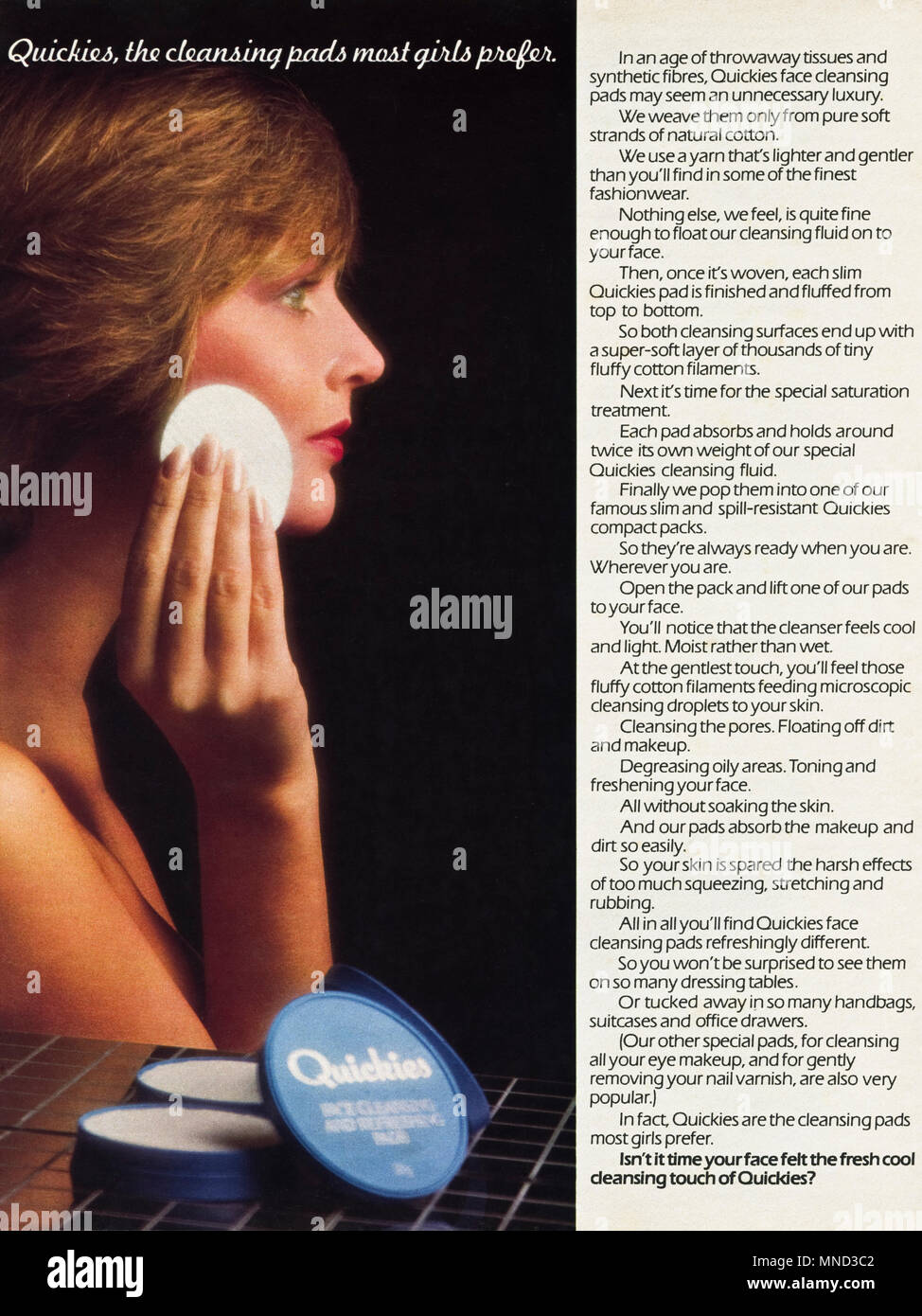 1980s original old vintage advertisement advertising Quickies skin cleansing pads for women advert in English magazine circa 1980 - Stock Image