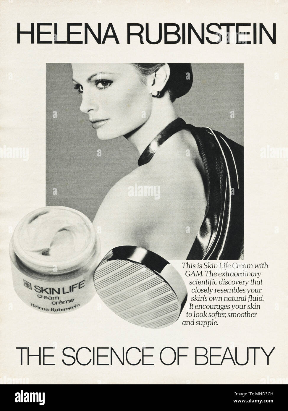 1980s original old vintage advertisement advertising Skin Life Cream with GAM by Helena Rubinstein for women advert in English magazine circa 1980 - Stock Image