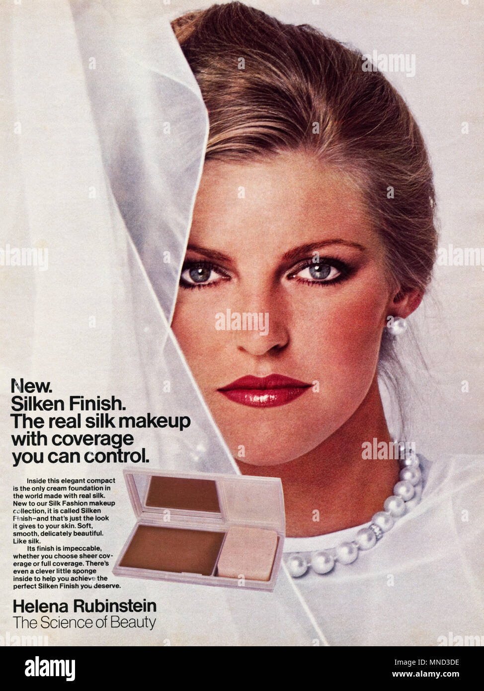 1980s original old vintage advertisement advertising foundation cream with real silk by Helena Rubinstein for women advert in English magazine circa 1980 - Stock Image