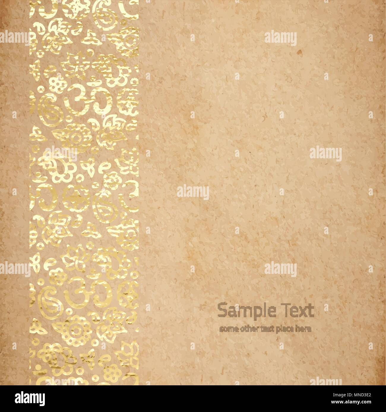 Vintage Old Paper Texture With Golden Ink OM Meditation Border Zen Background Scrapbooking Victorian Style Page Hand Drawn Vector Illustrat