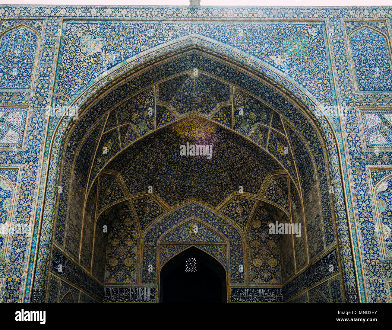 Historic Imam Mosque at Naghsh-e Jahan Square, Isfahan,Iran. Construction began in 1611 and is one of the masterpieces of Persian architecture in the Islamic era - Stock Image