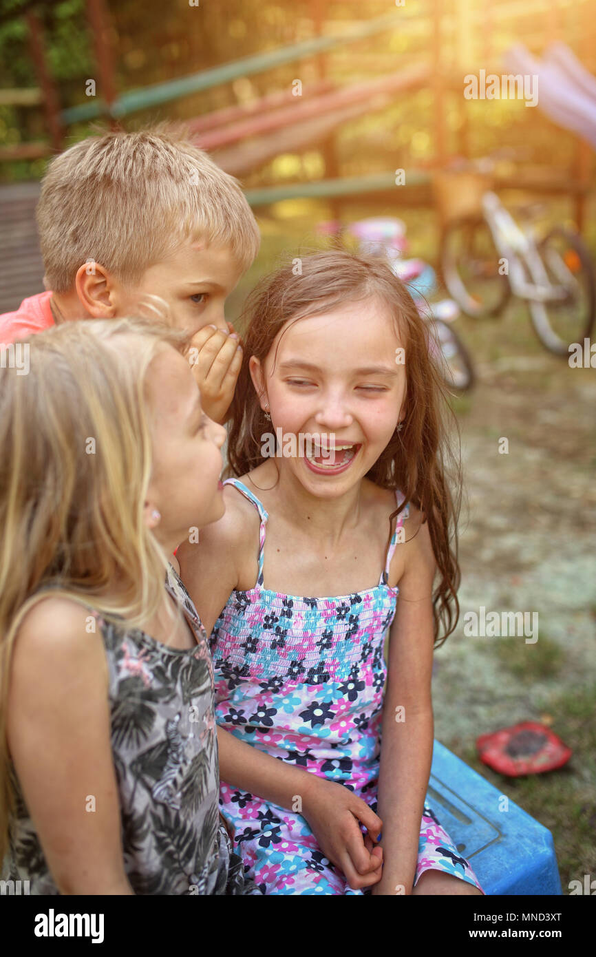 joyful fun of young friends Stock Photo