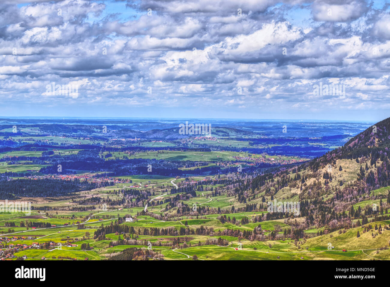 Outlook from the Kofel in Bavaria Germany hike - Stock Image