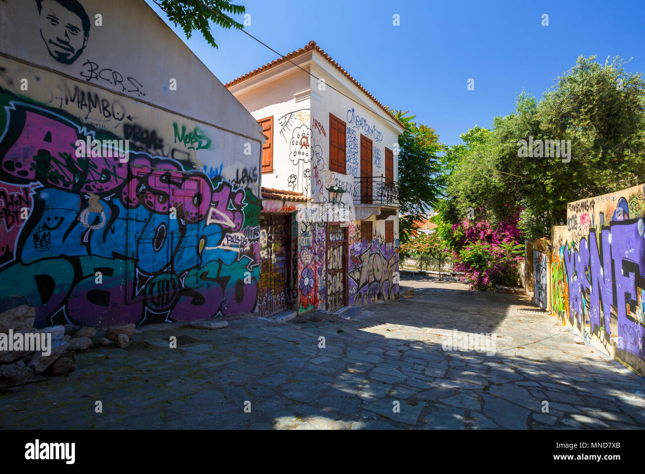 Athens, Greece - May 14, 2018: Plaka, the old town of Athens, is known for its ancient sites and charming neoclassical buildings however it has its ot - Stock Image