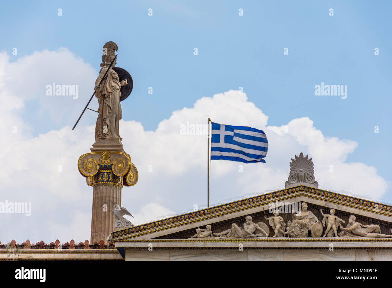 Statue Of Athena at Academy of Athens, Greece - Stock Image