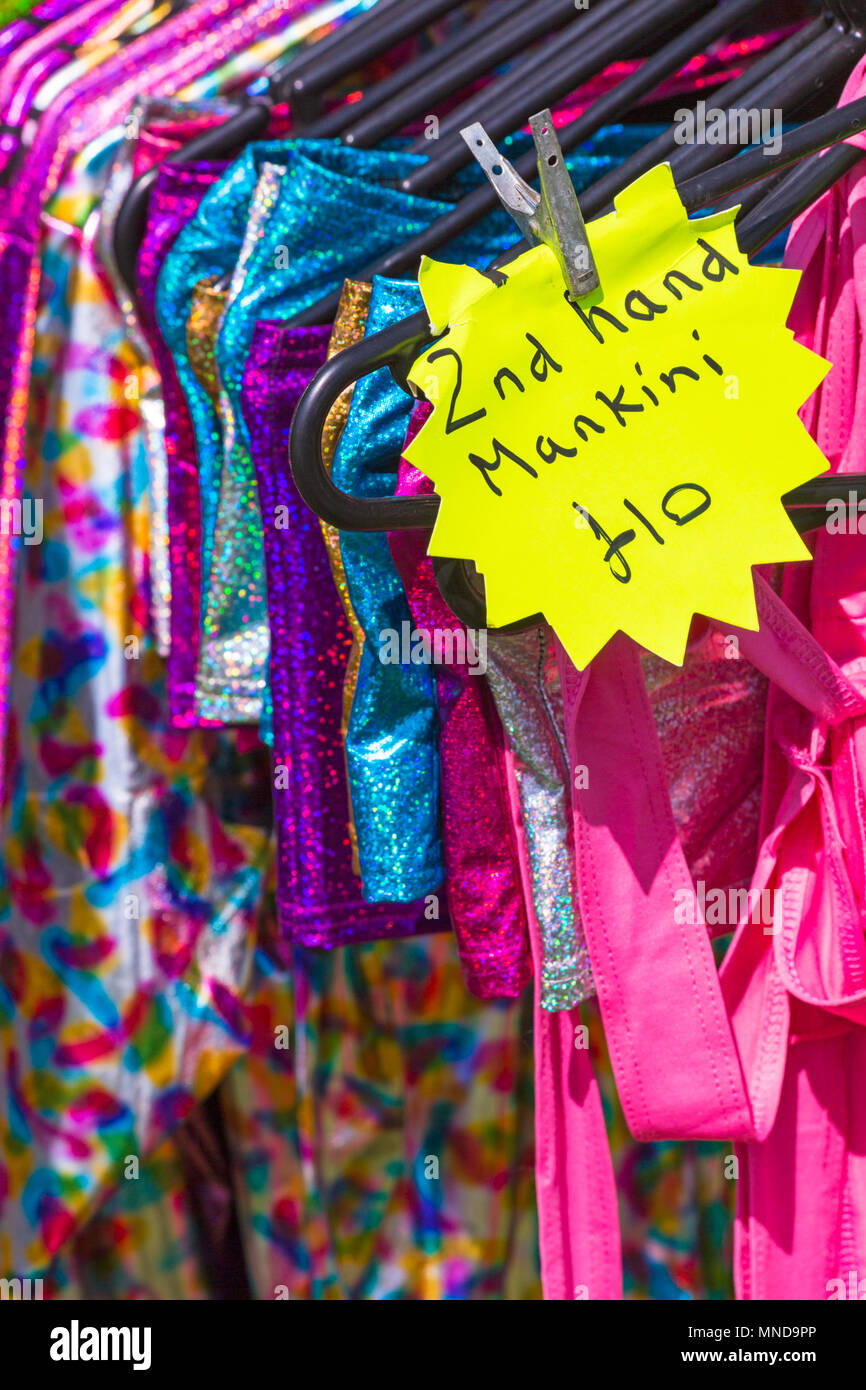 2nd hand mankini for sale at Hampshire Game & Country Fair, Netley Marsh, Hampshire UK in May - Stock Image