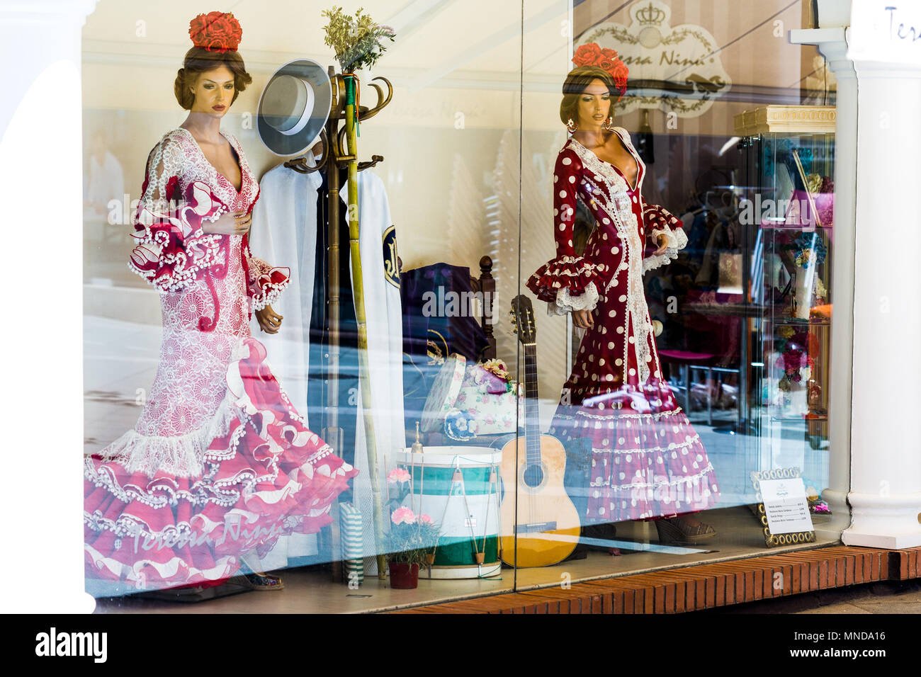 c93d8387f273 Shop window mannequins in traditional flamenco dresses display. Spain -  Stock Image