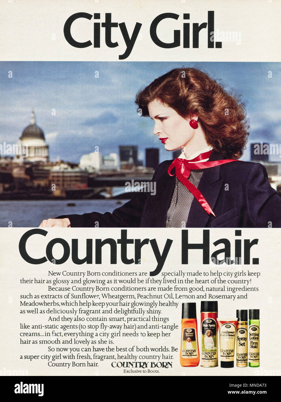 1980s original old vintage advertisement advertising Country Born shampoo & conditioner advert in English magazine circa 1980 - Stock Image