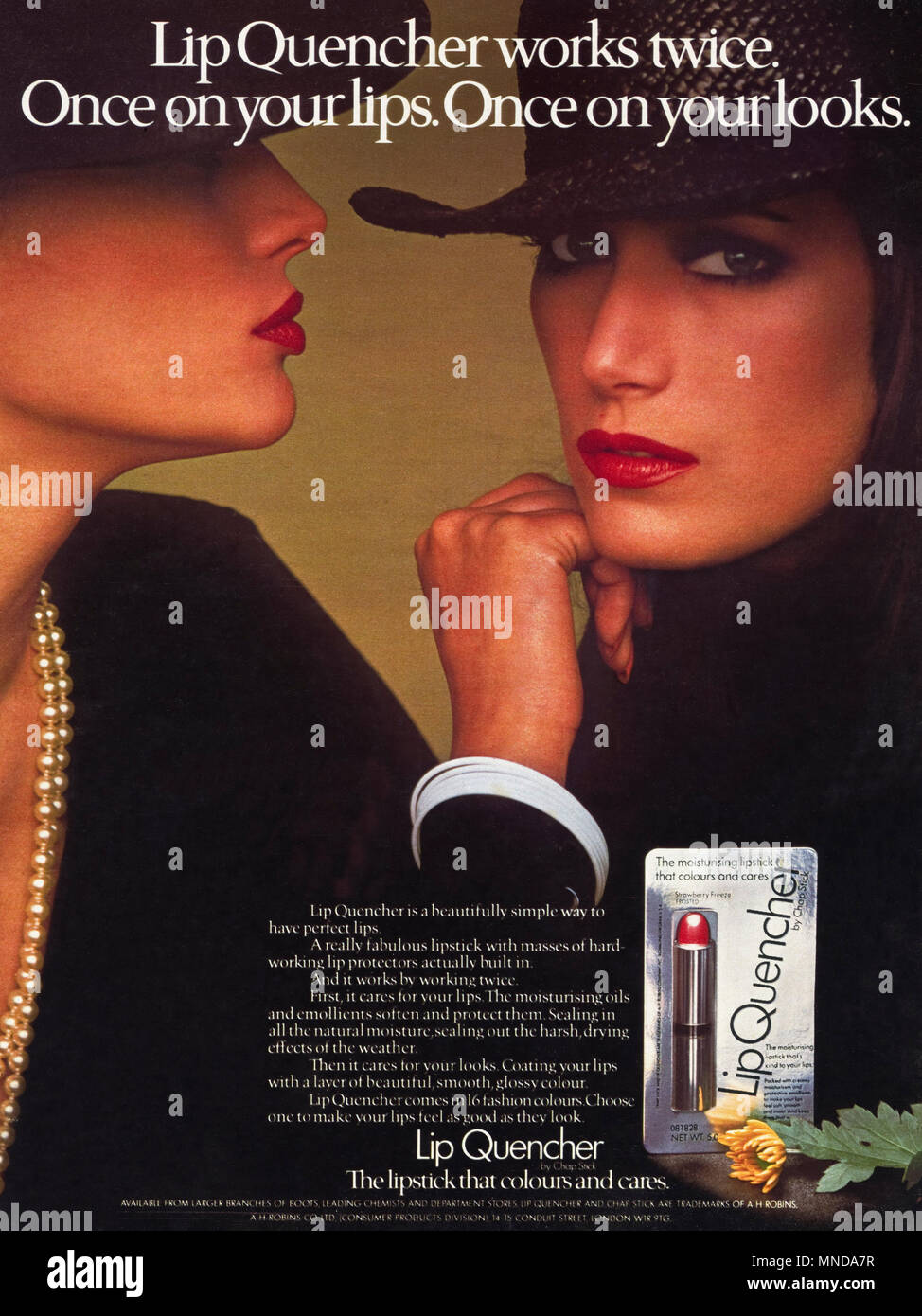 1980s original old vintage advertisement advertising Lip Quencher lipstick advert in English magazine circa 1980 - Stock Image