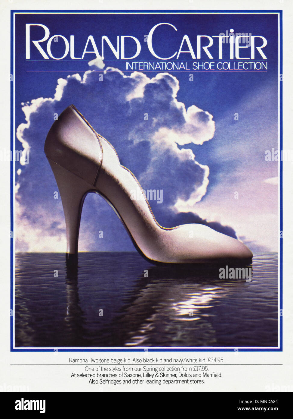 1980s original old vintage advertisement advertising Roland Cartier International shoe collection advert in English magazine circa 1980 - Stock Image