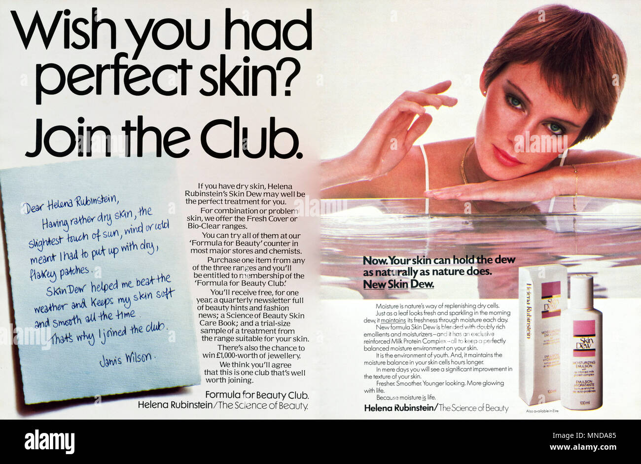 1980s original old vintage advertisement advertising Skin Dew cosmetics by Helena Rubinstein for women advert in English magazine circa 1980 - Stock Image