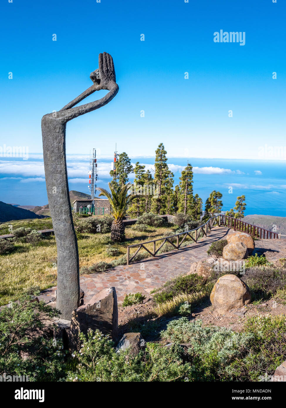 Mirador de Igualero with Homage to Silbo sculpture in honour of the island's whistling language - Garajonay National Park of La Gomera Canary Islands - Stock Image