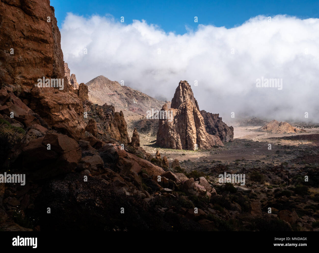 Striking rock formation The Cathedral which is an eroded volcanic plug at the Roques de Garcia in the caldera of Mount Teide Tenerife Canary Islands - Stock Image