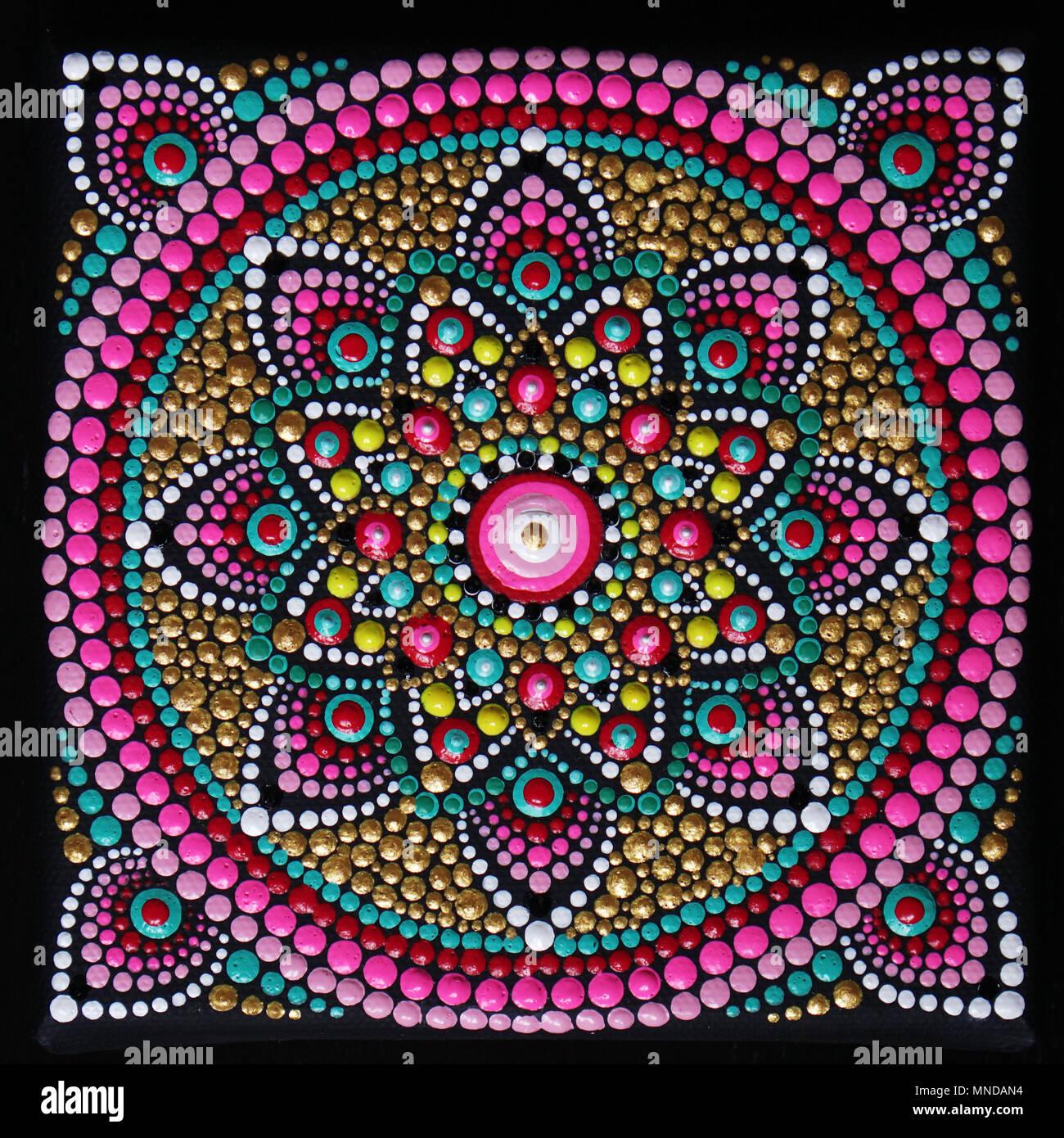 f6d800d474a80 Square beautiful mandala hand painted Stock Photo: 185305264 - Alamy