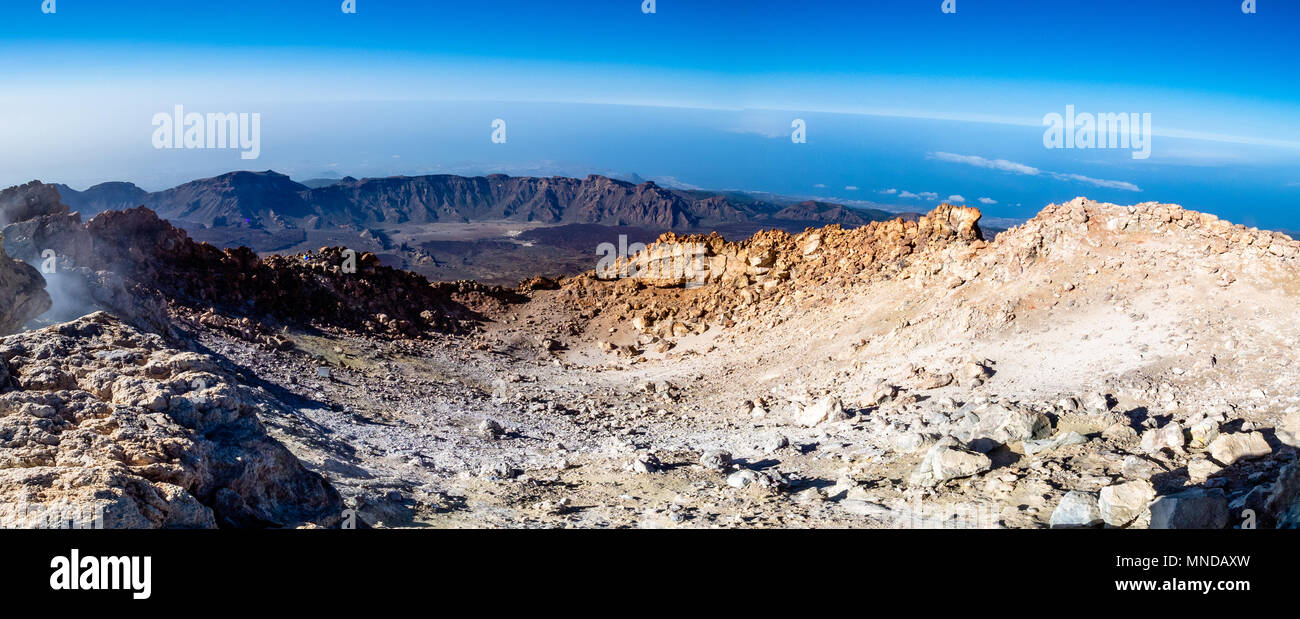 Panorama of the smouldering summit crater of active volcano Mount Teide at 3718 metres on Tenerife the largest of the Canary Islands - Stock Image