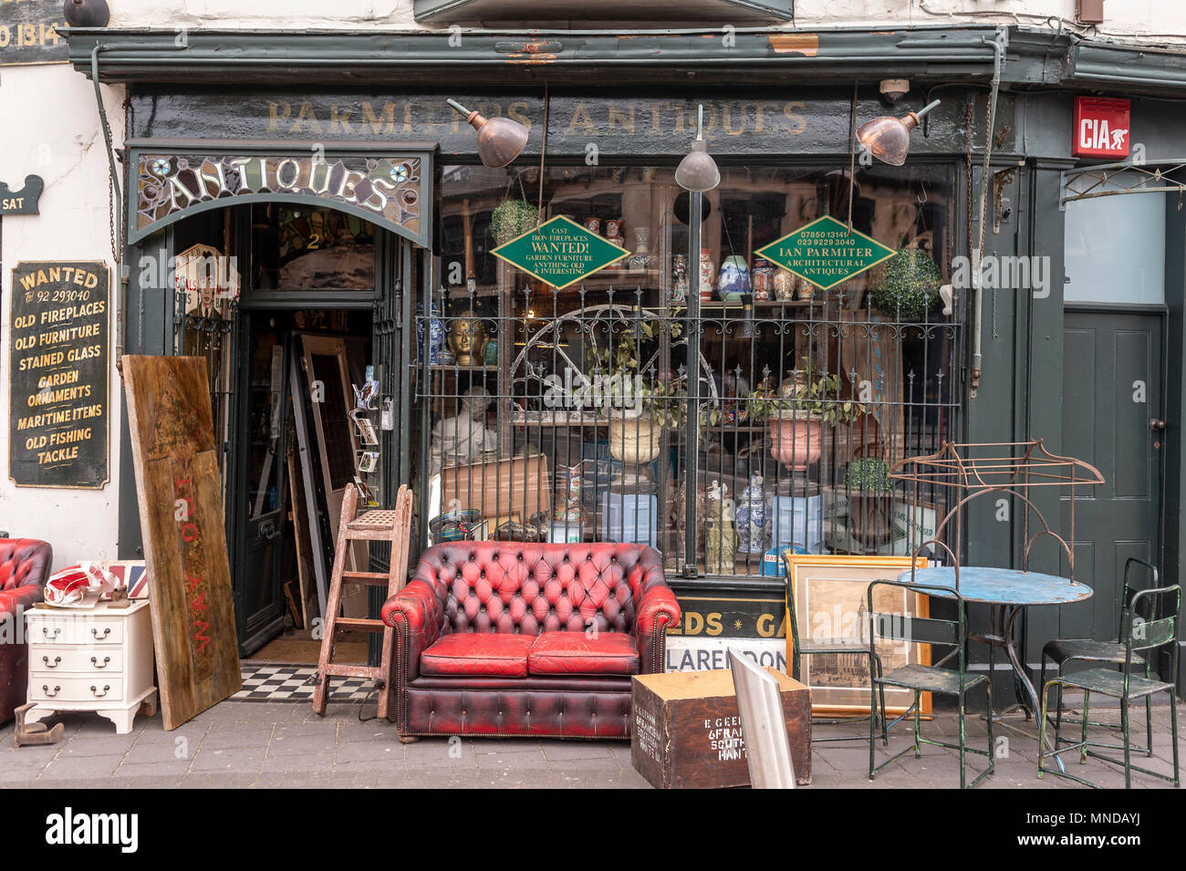 exterior of an antique shop in the Albert Road, Southsea, hampshire, UK - Stock Image