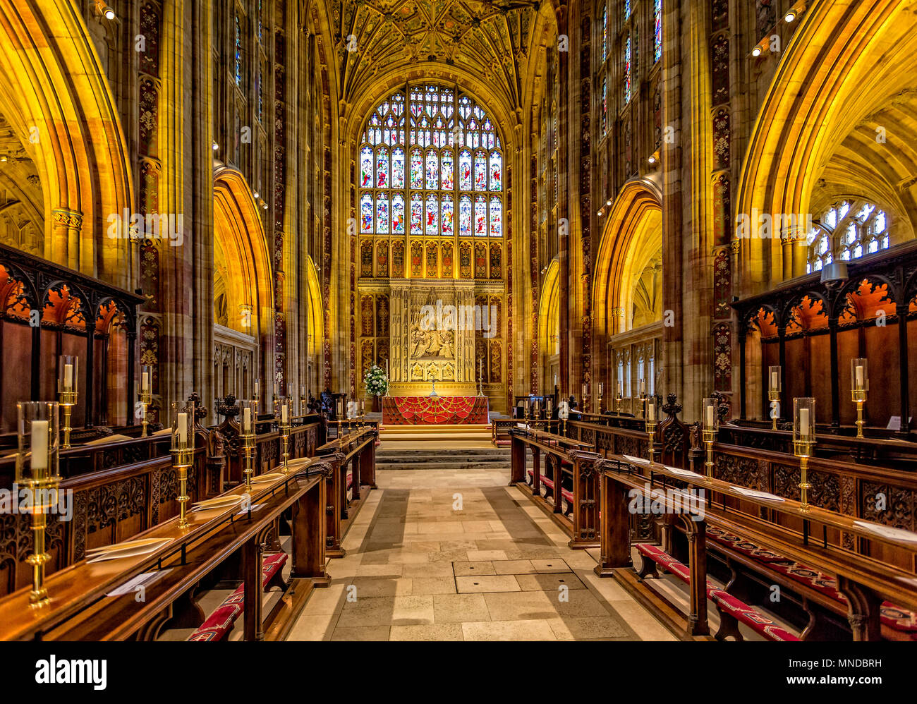 The choir stalls and altar in Sherborne Abbey taken in Sherborne, Dorset, UK on 24 August 2015 Stock Photo