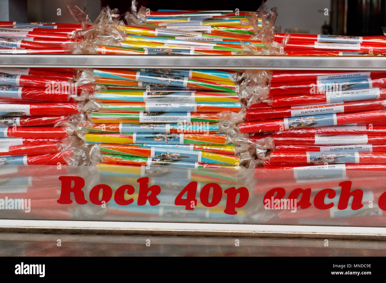 Sticks of seaside rock from Clacton-on-Sea in Essex, England - Stock Image