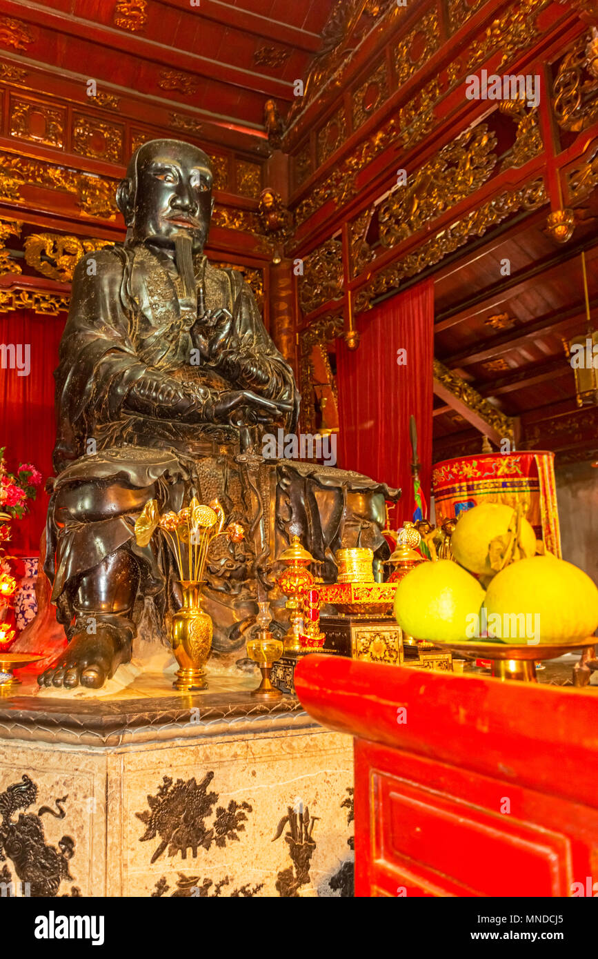 Interior of the 11th century Quan Thanh Temple ( Tran Vu Temple), a Taoist temple in Hanoi, was dedicated to Xuan Wu, one of the well-respected deitie - Stock Image