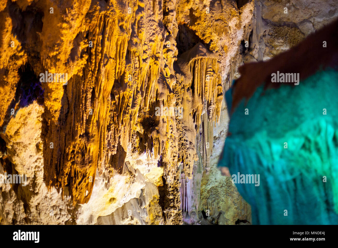 beautiful formation of rock geology inside a spanish cave - Stock Image
