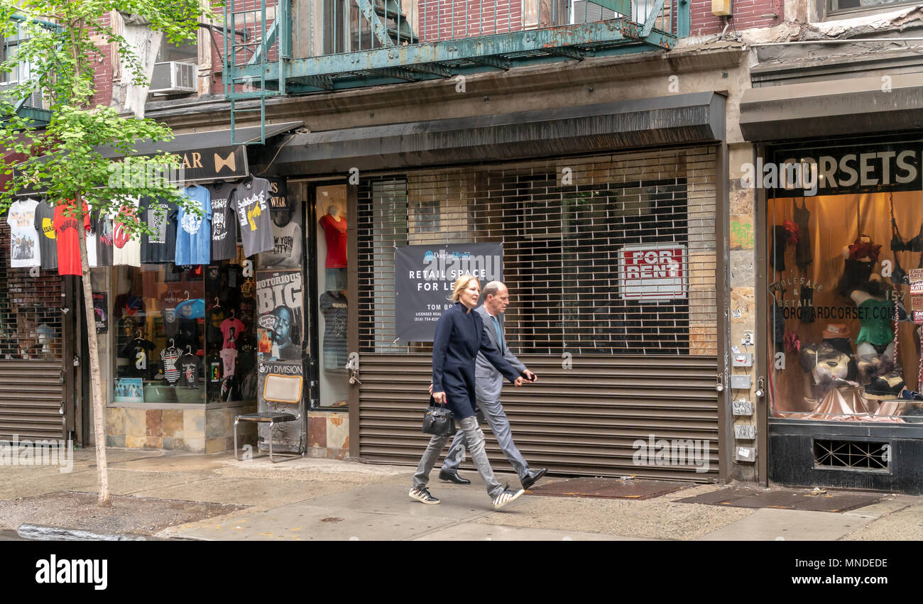Vacant property on Orchard Street in the Lower East Side neighborhood of in New York on Sunday, May 13, 2018. New York is considering a vacancy fee or a vacancy tax on landlords who keep storefronts empty for too long, waiting for the market rent to rise. ( © Richard B. Levine) - Stock Image