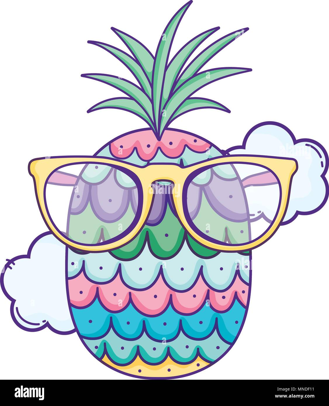 Kawaii Pineapple Fruit With Fashion Glasses And Clouds Stock