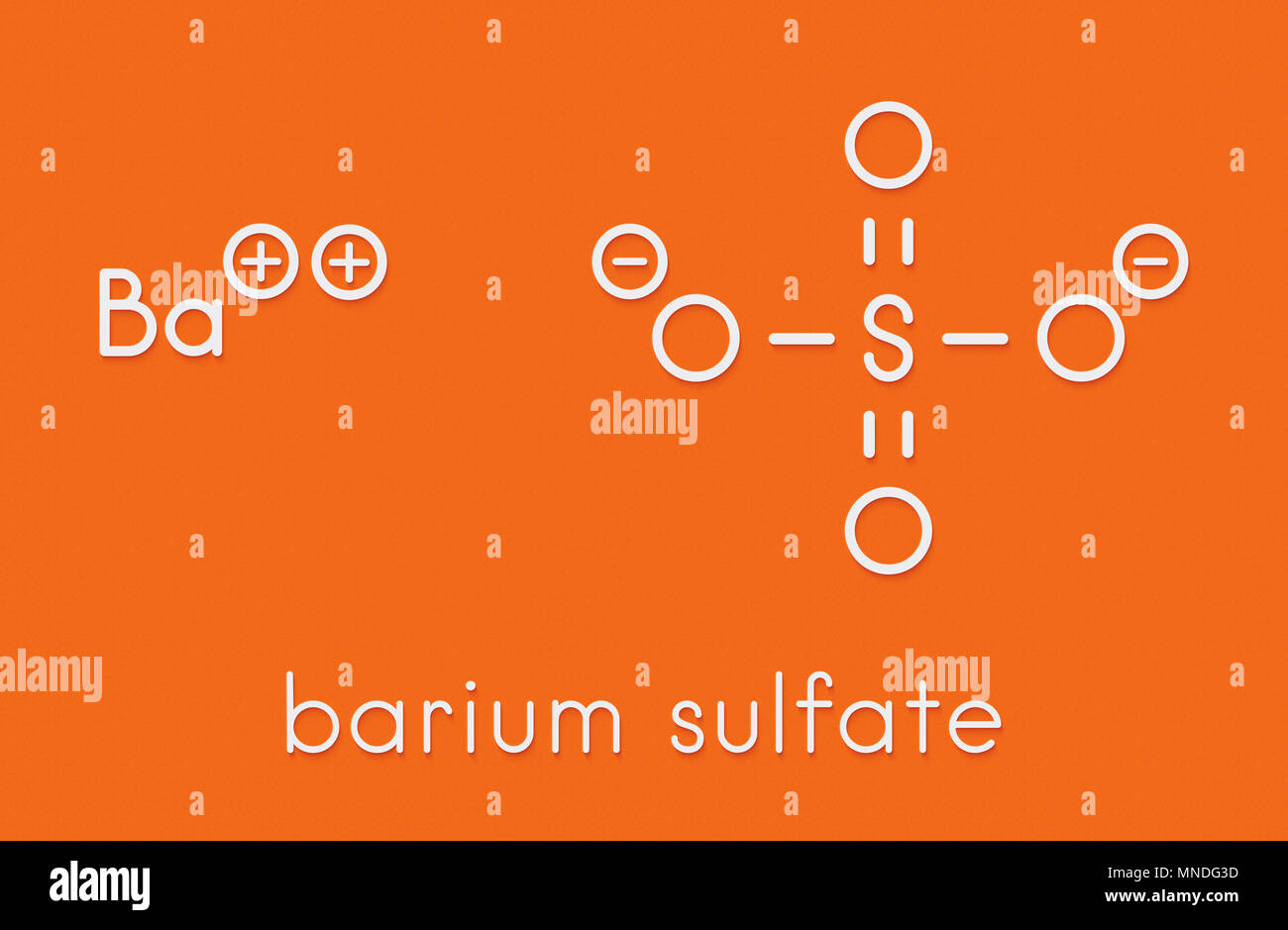 Barium sulfate (BaSO4). Used as paint pigment and radiocontrast agent. Skeletal formula. - Stock Image