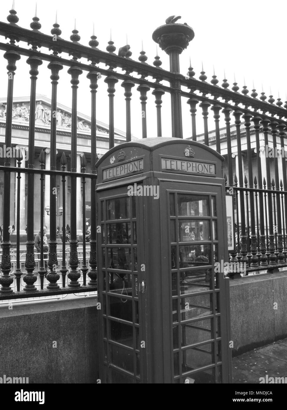 British Museum, London England, with telephone box - Stock Image