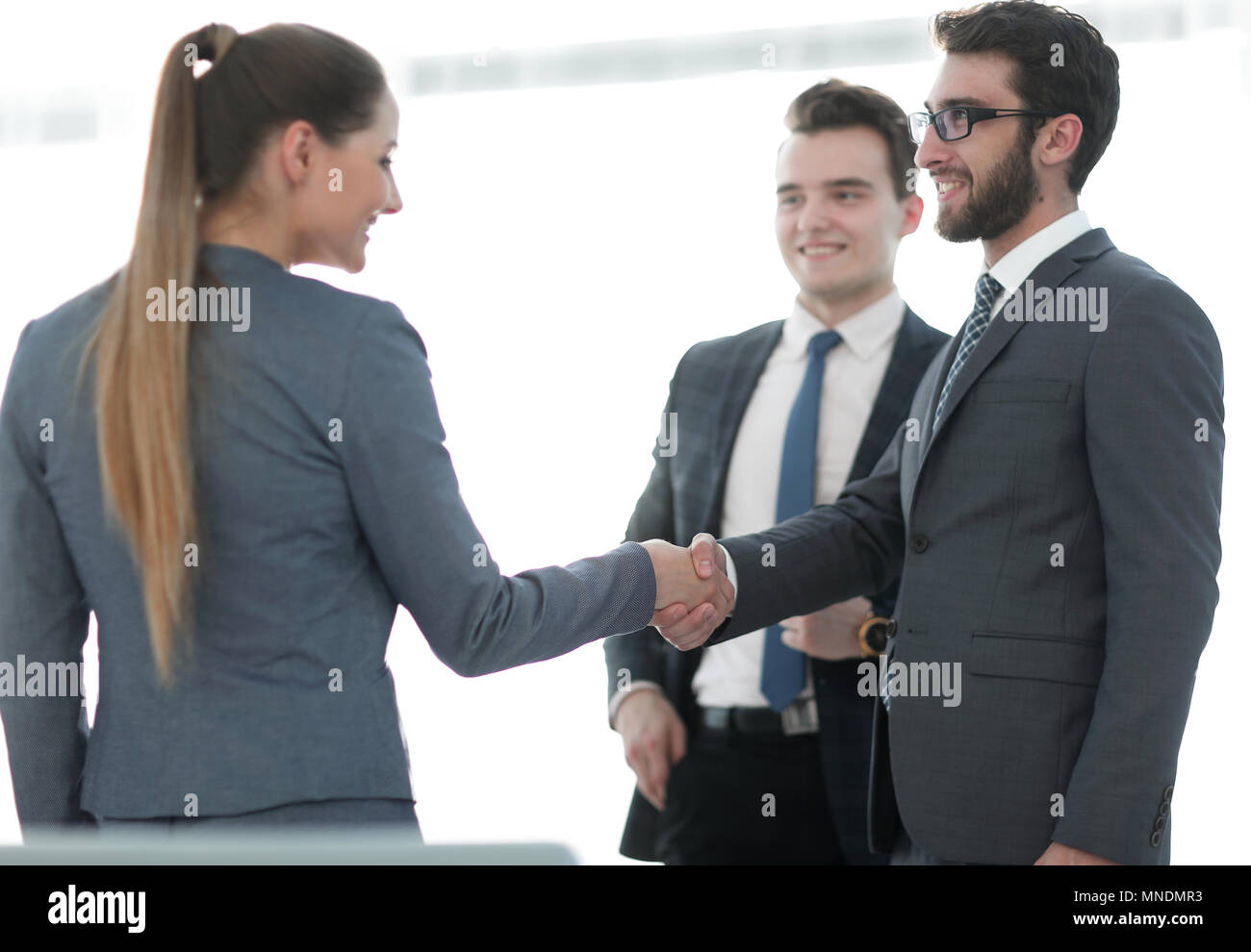 business concept .handshake financial partners. Stock Photo