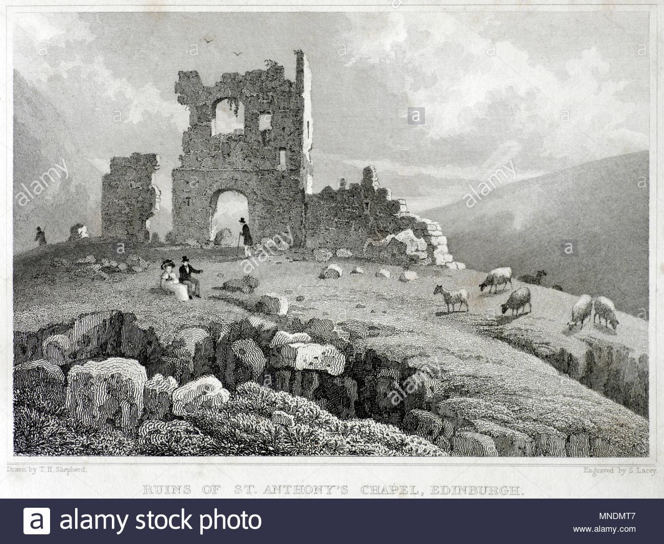 Ruins of St. Anthony's Chapel, Edinburgh, antique engraving from 1829 Stock Photo