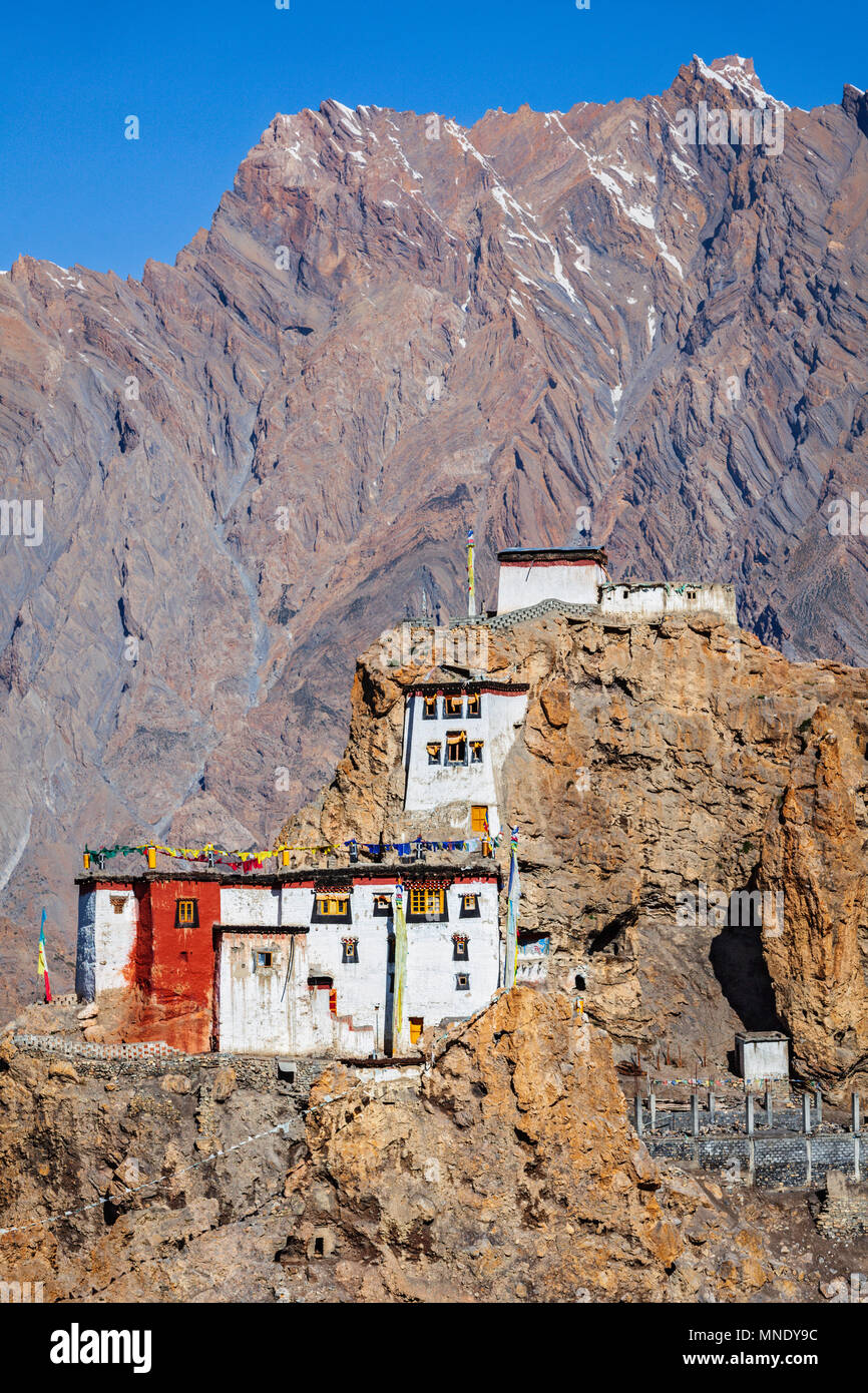 Dhankar gompa monastery on cliff . Himachal Pradesh, India - Stock Image