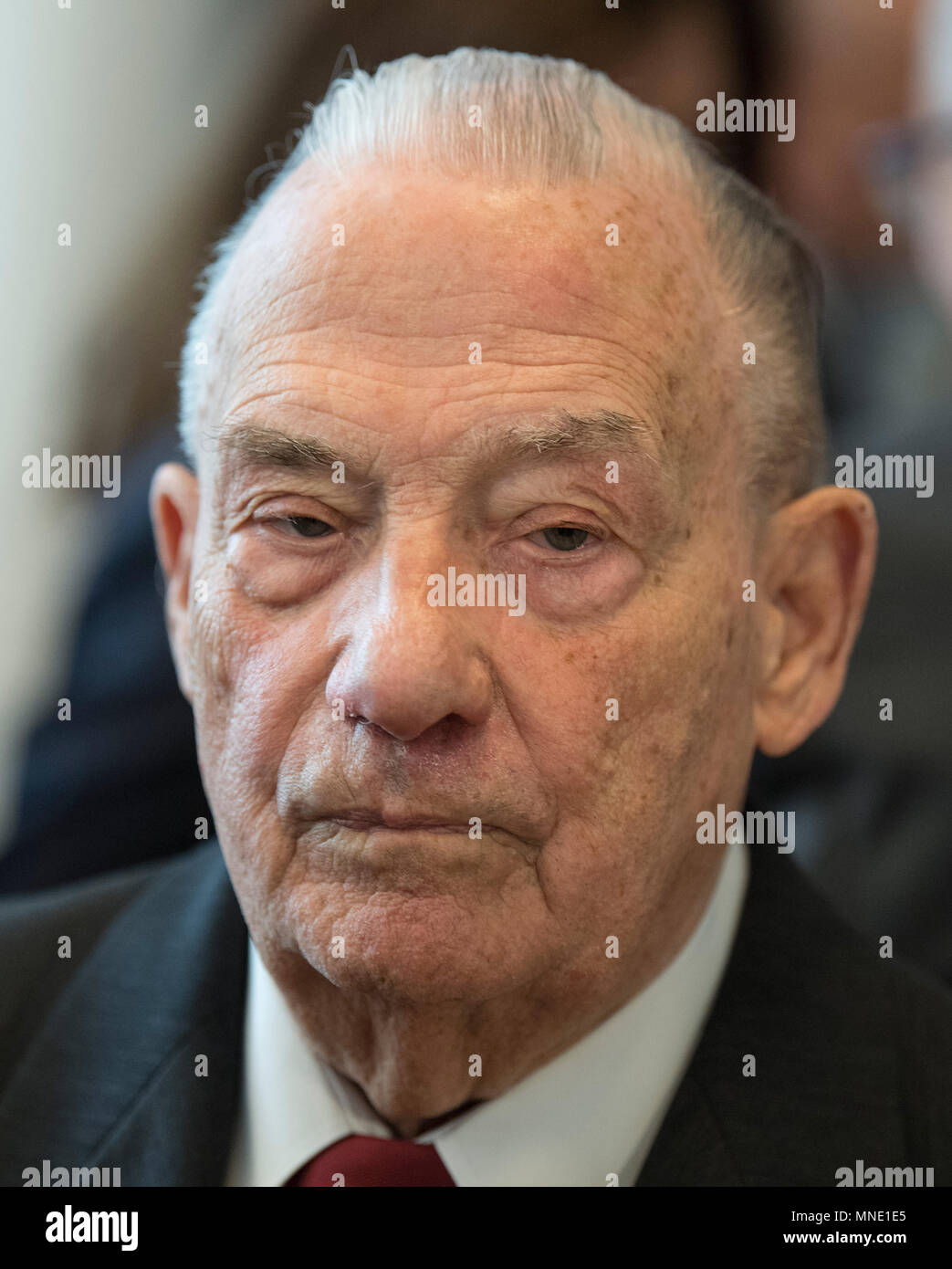 16 May 2018, Germany, Frankfurt: Gerhard Wiese following a speech in the Saalbau Gallus. The documents of the 1st Frankfurt Auschwitz trial is now a UNESCO World Heritage Document. Photo: Boris Roessler/dpa Stock Photo