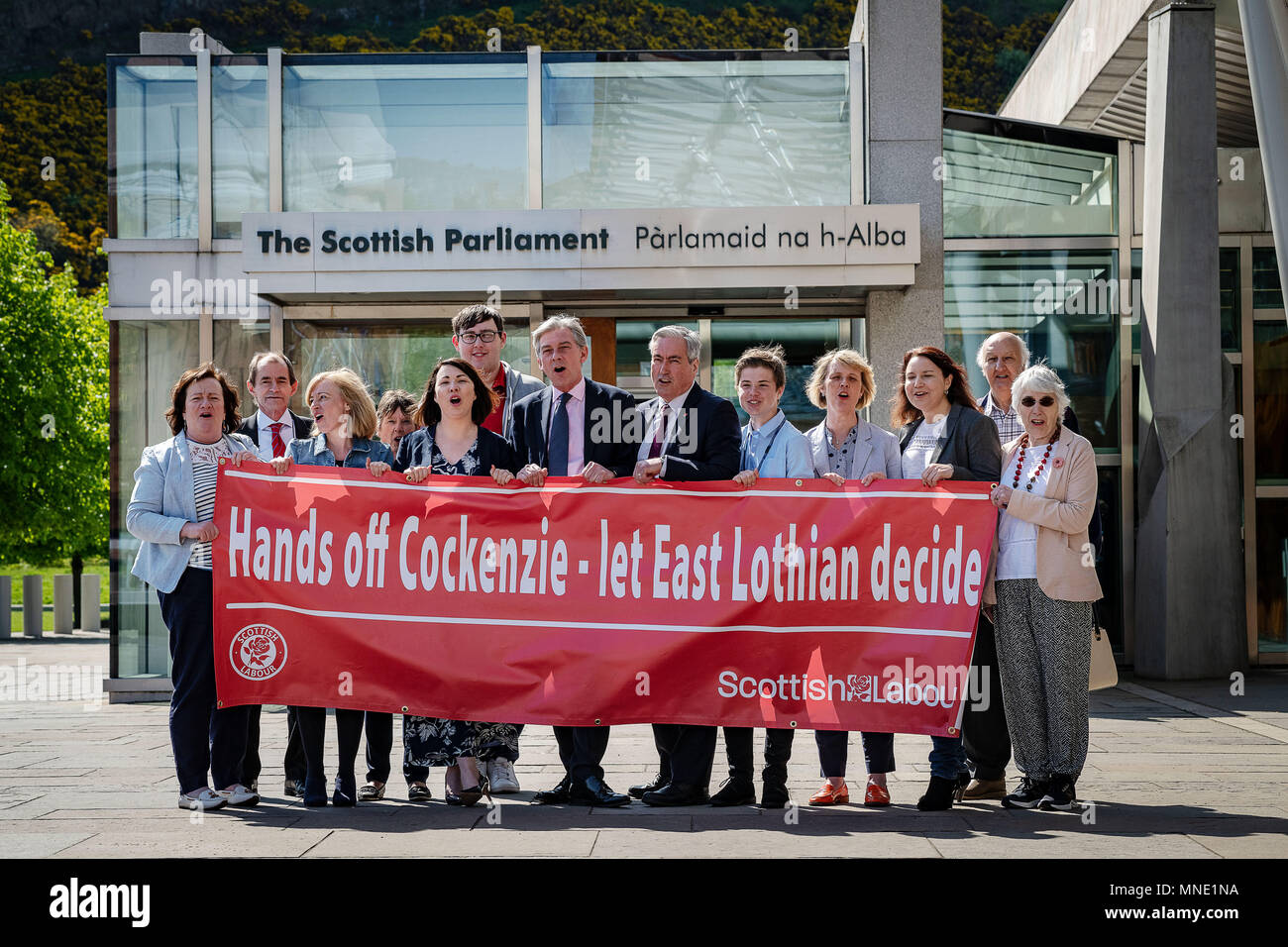 Edinburgh, UK. May  16 2018; Local activists are joined by Scottish Labour Leader Richard Leonard and MSP Monica Lennon to demonstrate outside the parliament and present Iain Gray MSP with a petition that will later be handed in to SNP Planning Minister Kevin Stewart urging him to rethink the decision to call-in the Cockenzie planning application    credit steven scott taylor / alamy live news - Stock Image
