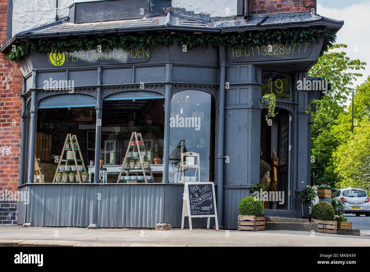Leeds, UK - 16 Mary 2018.  The Perfumed Garden forist in Chapel Allerton are offering free roses this Saturday to celebrate the royal wedding. The only catch is that your name needs to be either Harry or Meghan to claim one. Credit: James Copeland/Alamy Live News - Stock Image