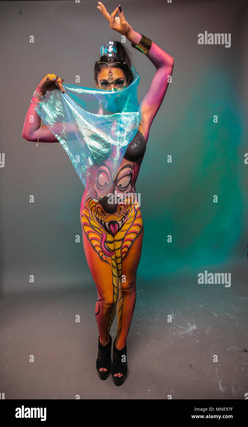 London Uk 16 May 2018 The Living Art Show Body Painting Festival A Full One Day