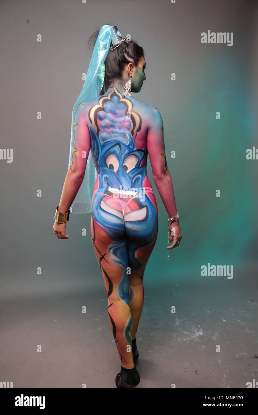 London Uk 16 May 2018 The Living Art Show Body Painting Festival A Full One Day Body Painting Competition A Catwalk Show Face Painting The Theme For This Years Living Art Show