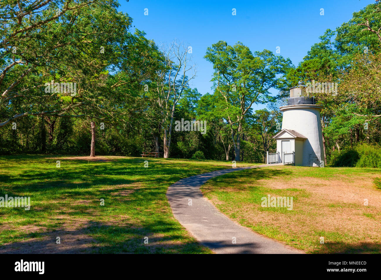 One of the Three Sisters lights were built in 1838, 150 feet apart in a straight line.  They were taken apart and sold when the lighting technology ev - Stock Image