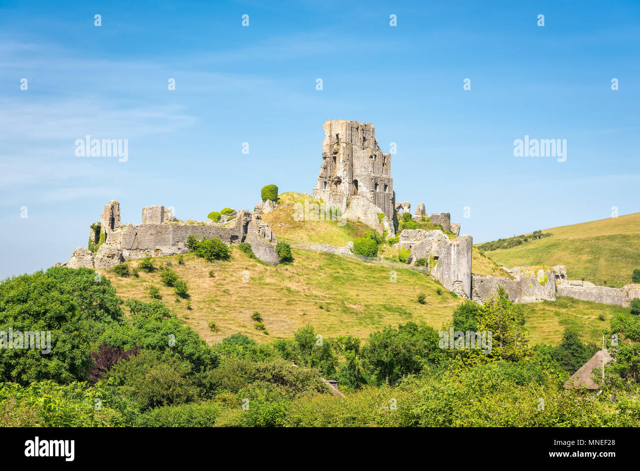 Wareham, United Kingdom - June 20, 2017: Ruins of Corfe Castle, built in medieval times by William the  Conqueror in the Isle of Purbeck in Dorset, vi Stock Photo
