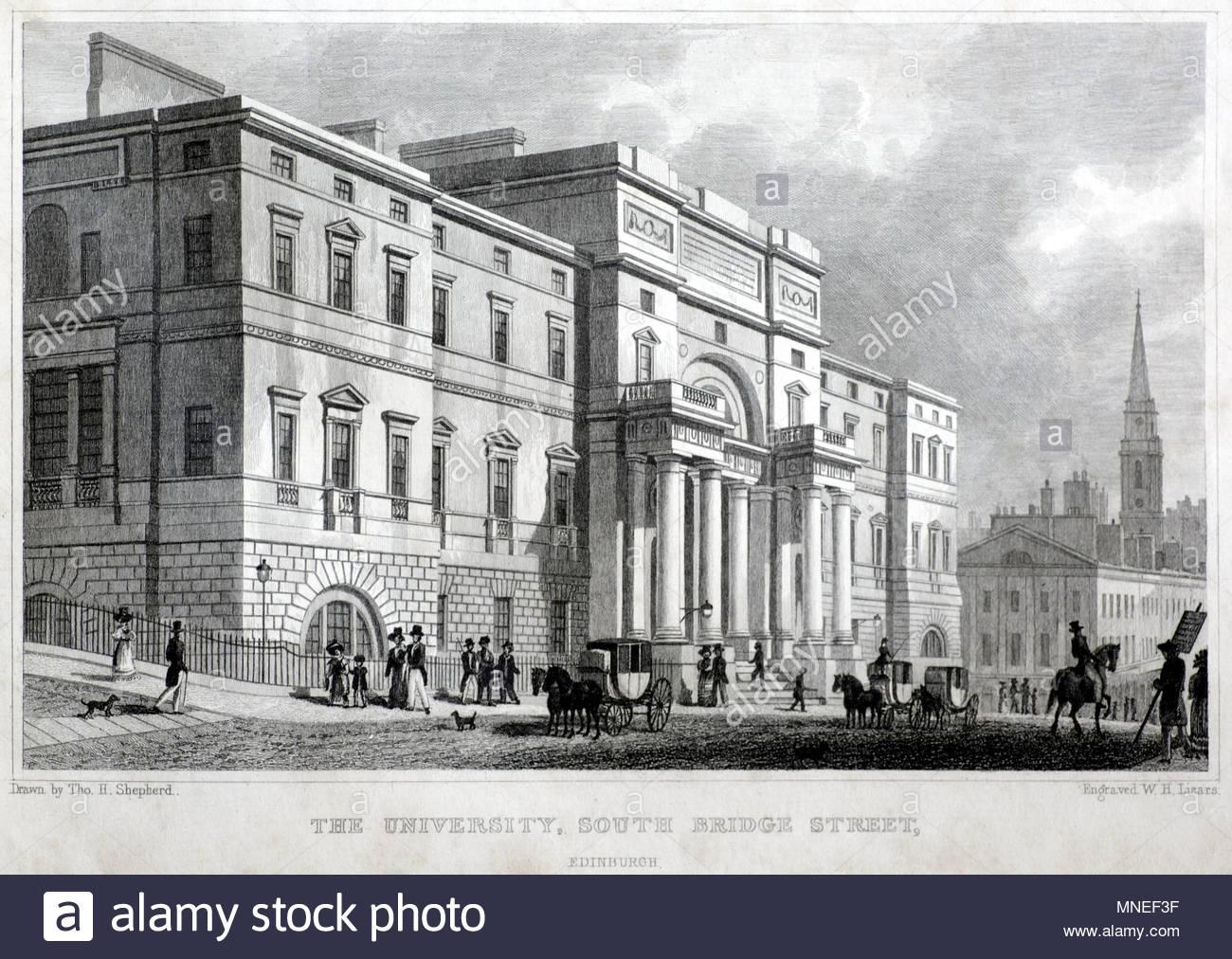The University, South Bridge Street, Edinburgh, antique engraving from 1829 - Stock Image